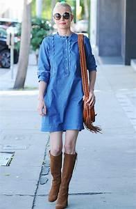comment porter la robe en jean pour l39ete 2016 marie With robe fourreau combiné avec bottes hipanema