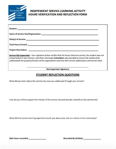 bcps service learning hours form student service learning form sparrows point middle