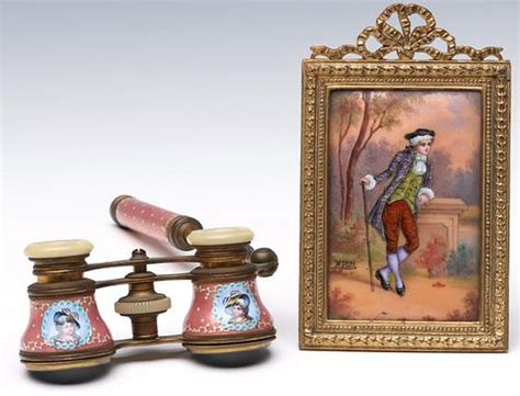 french enamel  copper plaque  opera glasses sold  auction   december bidsquare