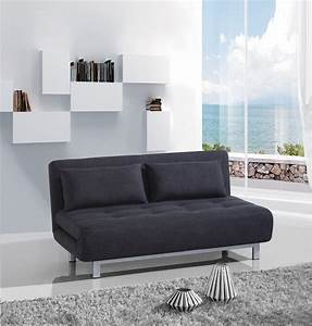 Banquette design 2 places convertible en tissu gris for Banquette convertible lit 2 places