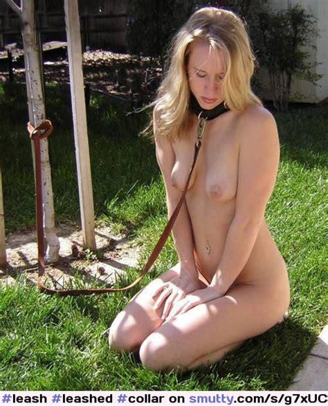 Leash Leashed Collar Collared Nude Kneeling Blond Pet Petgirl Outdoors