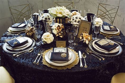 Great Gatsby navy and gold tablescape Gatsby party table