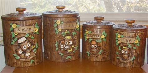 owl kitchen canisters vintage owl canisters treasure craft