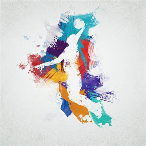 basketball player digital art  aged pixel