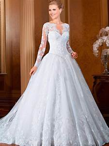 2015 new fashionable lace wedding dresses plus size a line With plus size long sleeve wedding dresses