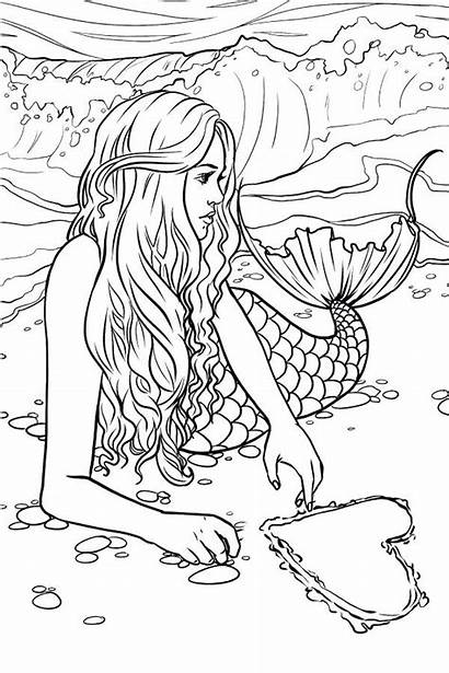 Mermaid Coloring Adults Pages