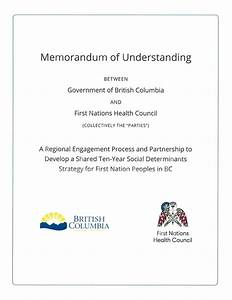 First Nations Health Council Memorandum of Understanding on the Social Determinants of Health