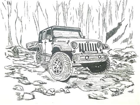 4 door jeep drawing jeep rubicon gel pen sketch drawing by scott d van osdol