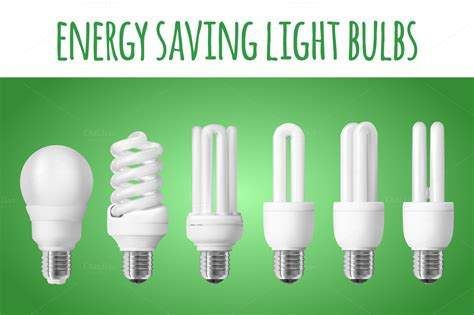 6 energy saving light bulbs objects on creative market