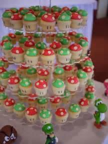 wedding cupcake tower mario bros 1up mushrrom wedding cupcake tower