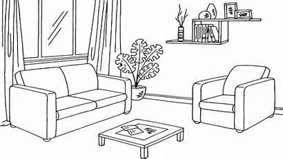 Coloring Living Sketch Draw Sketsa Tamu Ruang