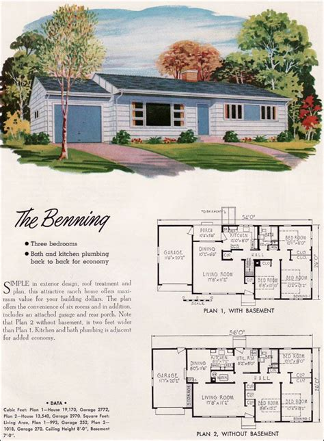 narrow house plans with garage 1952 national plan service benning the basic ranch house
