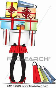 Clip Art of lady standing with gift boxes k12317549 ...