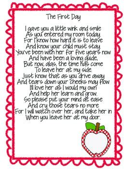 welcome to kindergarten poem for parents by the 526 | original 1991817 2