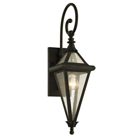 troy lighting geneva 1 light vintage bronze 23 5 in h outdoor wall sconce with clear