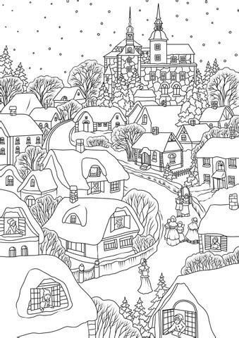 snowy village  christmas eve coloring page  printable coloring pages