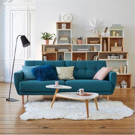 repulsif interieur canape déco de salon avec canapé bleu canard type retro
