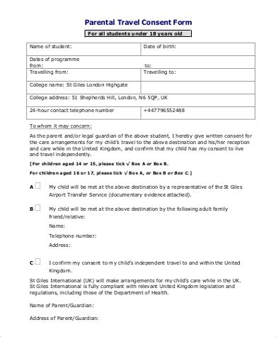 travel consent form sample  examples  word