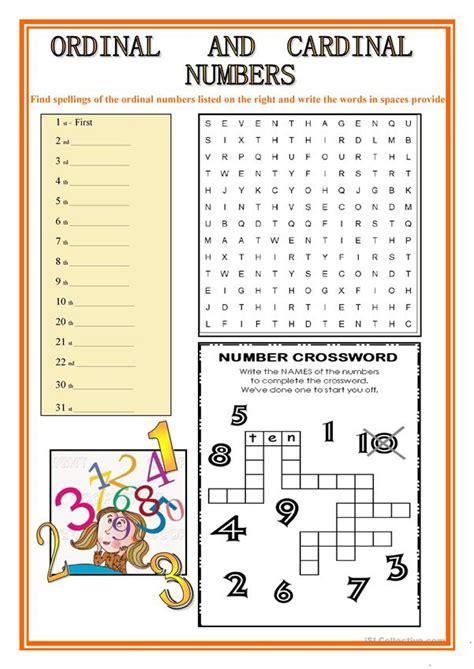 ordinal and cardinal numbers worksheet free esl