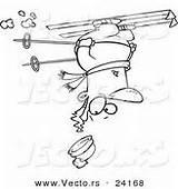 Upside Down Coloring Cartoon Outline Skier Vector Winter Royalty sketch template