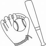 Baseball Bat Ball Coloring Glove Drawing Mitt Template Printable Sketch Getcolorings Getdrawings Clipart Colouring Templates sketch template