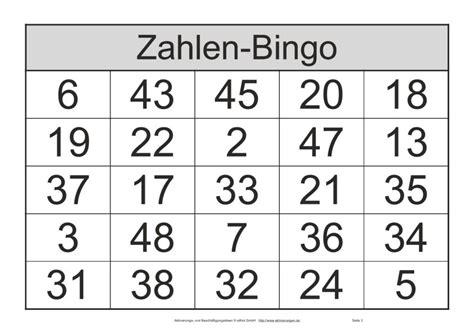 bingo spielscheine mit zahlen von  bis