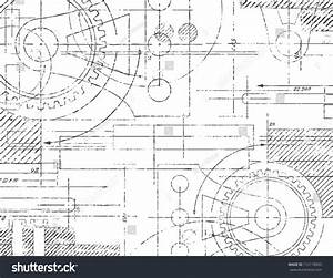 Grungy Technical Drawing Vector Illustration Gears Stock ...
