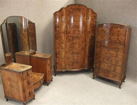 Tallboy Dressers by Burr Walnut Art Deco Bedroom Suite