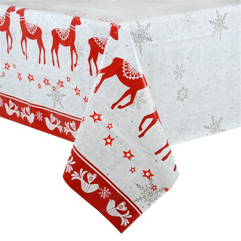 christmas tablecloth large 140 x 240cm pvc wipe clean red