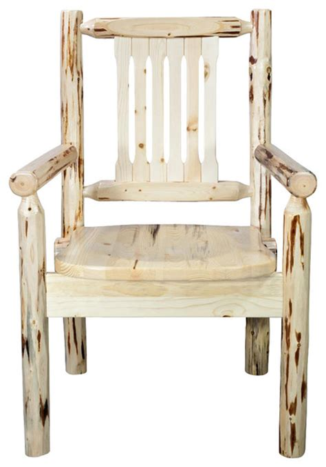 wooden captain s chair rustic dining chairs by