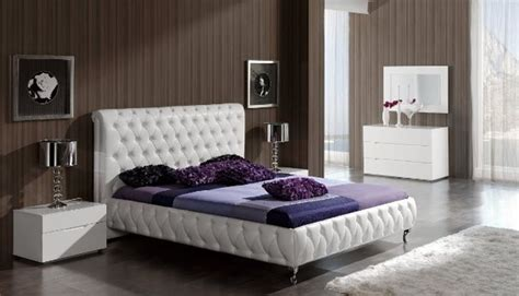White Leather Bed Frame And White Lacquer Bedroom Set