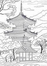 Japanese Temple Japan Tattoo Coloring Adult Adults Printable Favoreads Sheets Coloriage Landscape Drawing Dessin Japoneses Dibujos Draw Samurai Pagoda Tempel sketch template