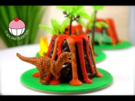 mini dinosaur volcano cup cakes  cupcake addiction