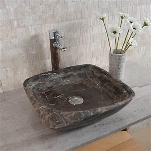 vasque carree pierre naturelle marron moya indoor by capri With salle de bain design avec lavabo pierre de lave