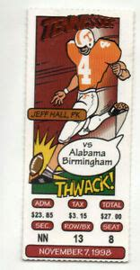 1998 Tennessee VOLS vs UAB Ticket Stub, BCS National ...