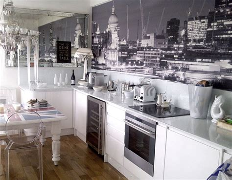 Kitchen With A Black And White London Mural By Murals. White Living Room Tables. Home Decor For Small Living Room. Ideas For Living Rooms With Fireplaces. Modern Lamps For Living Room