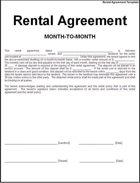 Rental Agreement Template 30 Basic Editable Rental Agreement Form Templates Thogati