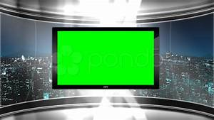 HD Virtual TV studio news set with city skyline in the ...
