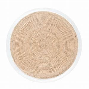 Tapis Blanc Rond : tapis rond tress en jute contour blanc d180 gaya maisons du monde ~ Dallasstarsshop.com Idées de Décoration