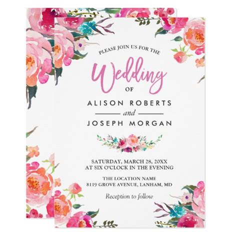 classy floral blossom watercolor flowers wedding
