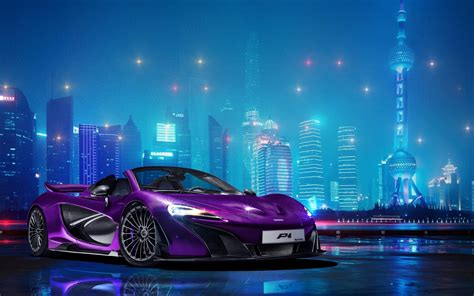 Mclaren Purple Car In The City At Night Fabulous
