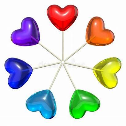Rainbow Heart Shaped Lollipops Seven Colored Regenbogen