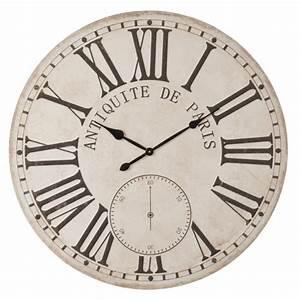 Horloge Murale Ronde XXL D100cm Style Vintage En Bois