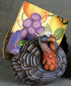 Ceramic Bisque Whittled Turkey Napkin Holder Ready