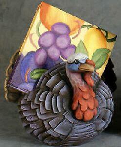 Ceramic Bisque Whittled Turkey Napkin Holder Ready