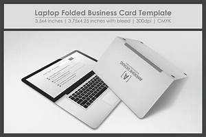 Laptop folded business card template business card for Folding business card template