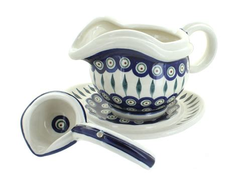 Gravy Boat And Ladle Set by Blue Pottery Peacock Gravy Boat Plate And