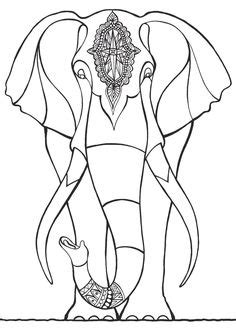 Elephant Abstract Doodle Zentangle Paisley Coloring pages colouring adult detailed advanced