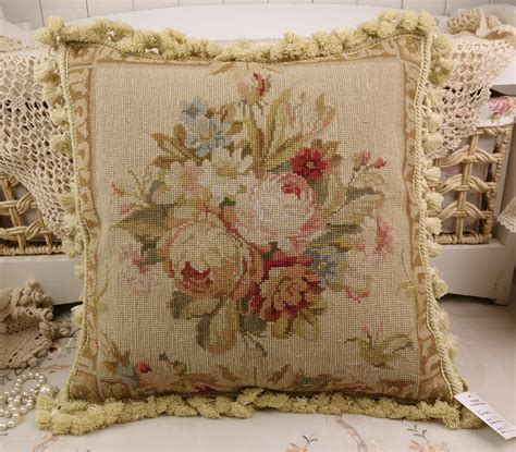 shabby chic pillow 18 quot vintage chic shabby floral house sofa chair decorative needlepoint pillow ebay