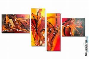 Tableau Coloré Moderne : tableau quadriptyque color extravagance ~ Teatrodelosmanantiales.com Idées de Décoration